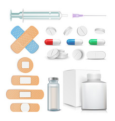 medical items set pills drugs ampoule vector image