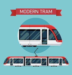 Modern Tram Icon Set vector