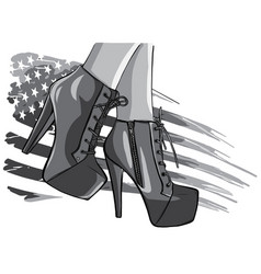 monochromatic boots with american flag in vector image
