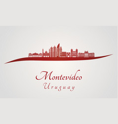 Montevideo skyline in red vector