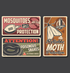 mosquito and moth protection snakes danger signs vector image
