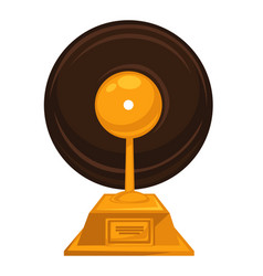 music award with vintage vinyl disc on top vector image
