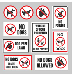 No dogs signs dog prohibited labels vector