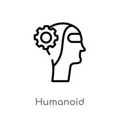 Outline humanoid icon isolated black simple line vector