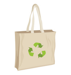 Paper bag with recycling symbol eco friendly vector