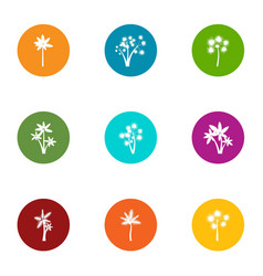 passionflower icons set flat style vector image