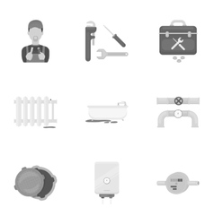 Plumbing set icons in monochrome style Big vector