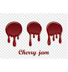 red cherry drip confiture 3d set berry sweet jam vector image