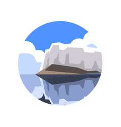 Round icon of northern landscape with giant vector