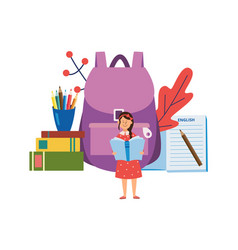 Schooling and back to school with child girl flat vector