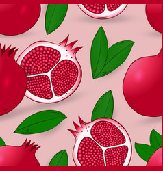 Seamless pattern of pomegranate with leaves vector