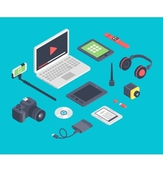 set isometric designer workplace table vector image