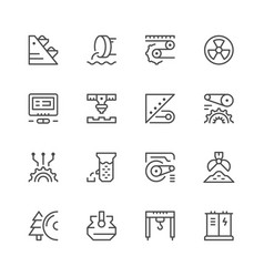 set line icons of industry vector image