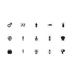 Set of 15 editable barber icons includes symbols vector
