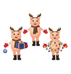Set of cute pigs with deer horns garland gift vector