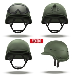 Set of Military tactical helmets green color vector