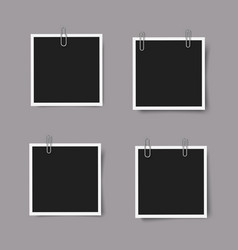 Set realistic square photo frames with shadows vector