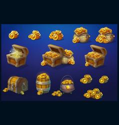 set wooden chests cauldron barrel bag vector image