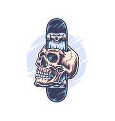 skateboard through skull vector image