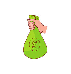 Sketch man hand holding money bag vector
