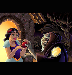 Snow white and witch vector