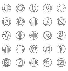 sound outline round icons set audio line vector image
