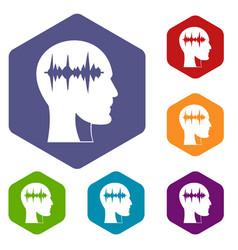 Sound wave icons set hexagon vector