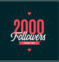 Thank you 2k followers or 2000 subscribers vector