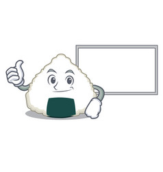 Thumbs up with board onigiri character cartoon vector