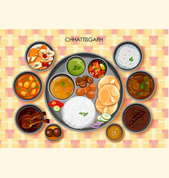Traditional chhattisgarhi cuisine and food meal vector