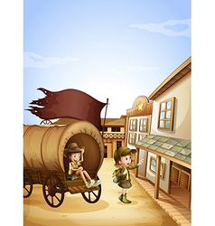 Two kids near the wagon vector