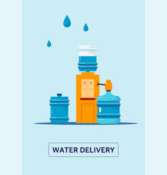 Water delivery services banner with bottles and vector