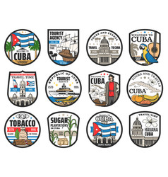 Welcome to cuba travel history landmarks icons vector