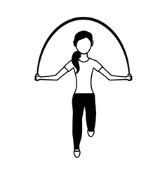 Woman athlete avatar character jump rope vector