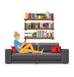 woman with textbooks on couch vector image