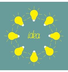 Yellow light bulb round frame Idea concept Flat de vector