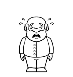 Black and white old man crying vector