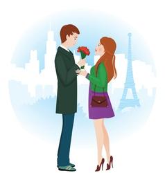 Lovers in Paris vector image vector image
