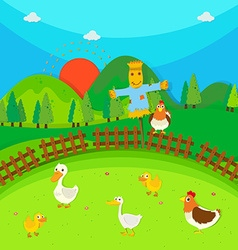 Scarecrow in the field full of ducks and chicken vector image vector image