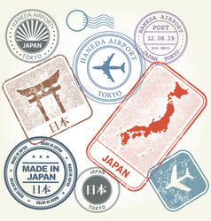 travel stamps set japan and tokyo theme vector image