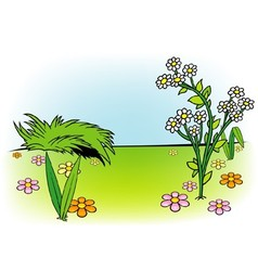White Flower And Meadow vector image vector image