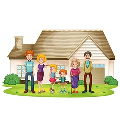 A family outside their big house vector image vector image