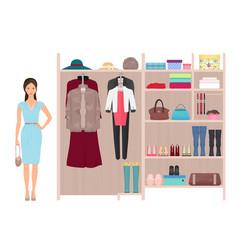Beautiful fashion lady and women s wardrobe vector image