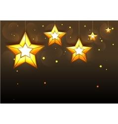 Big golden stars on dark background vector image vector image