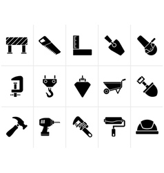 Black Construction industry and Tools icons vector image vector image