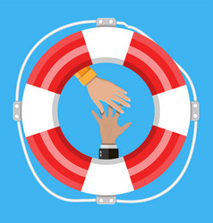hand with lifebuoy support and assistance concept vector image