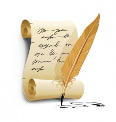 script with ink feather pen vector image vector image