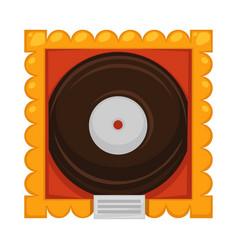 vinyl disc inside gold frame under glass cover as vector image