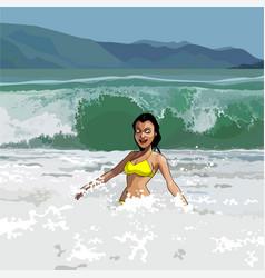 cartoon happy girl in swimsuit having fun vector image vector image