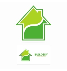 Eco house logo template vector image